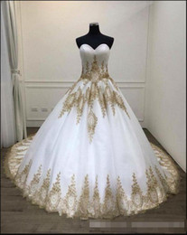 arabic wedding dresses women UK - White And Gold Arabic Women Wedding Dresses 2019 Sweetheart Corset Back Country Western Rustic Brdial Gowns With Color Black Women Bride's