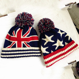 cheap formal hats UK - Cheap usa american flag Beanie hat wool winter warm knitted caps and hats for boy and girl Skullies cool Beanies wholesale