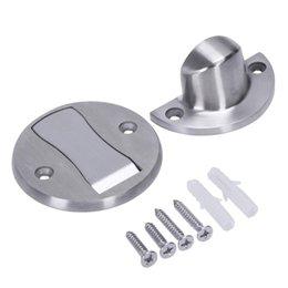 Hardware Door Stops 2pcs Rubber Door Stops Aluminium Alloy Door Stopper Wood Door Holder Toilet Glass Door Hidden Doorstop Furniture Hardware