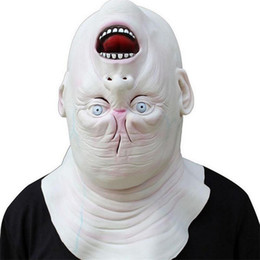 Full Face Costume Mask Australia - Horrible Halloween Cosplay Costume Latex Adult Terror Full Head Face Reverse The Head Fancy Ball Helmet Props Scary Masks A2256c