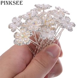 PINKSEE 20Pcs Box Wedding Hair Pins Simulated Pearl Flower Crystal Hairpins  Bridal Bridesmaid Hair Clips Wedding Jewelry eafcb33cea28