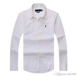 2018 новые осенние и зимние мужские рубашки с длинными рукавами из хлопка чисто мужская повседневная рубашка поло моды Оксфорд рубашка социального бренда маленький хор на Распродаже