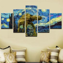 van gogh framed print Australia - Van Gogh Night View,5 Pieces HD Canvas Printing New Home Decoration Art Painting Unframed Framed