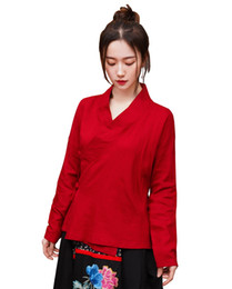 $enCountryForm.capitalKeyWord UK - Shanghai Story Women Chinese Style Traditional Vintage Long Sleeves Cotton Linen Tops Blouse