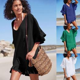 $enCountryForm.capitalKeyWord Australia - Bohemian Style Cute Dresses Womens V neck Ruffle Short Sleeve Swimsuit Loose Cover ups Bikini Beach Tunic Top