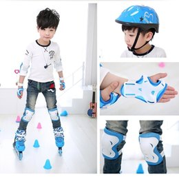 Blue Elbow Australia - 6pcs set Children Skating Protective Gear Sets Knee Elbow pads Bicycle Skateboard Ice Skating Roller Wrist Knee Protector #71138
