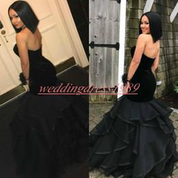 $enCountryForm.capitalKeyWord NZ - Elegant Velvet Tiered Mermaid Prom Dresses Sweetheart Black Girl Juniors African Party Formal Occasion Robe De Soiree Evening Gowns Cocktail
