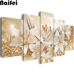 "diamond 3d pictures NZ - Full Round square diamond painting 5D DIY drill mosaic Diamond picture""5pcs Abstract flowers lily""Embroidery Cross Stitch 3d art"