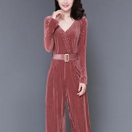 Wide Leg Jumpsuits Sleeves Australia - Women Blue And Red Velvet Playsuits Office Lady Long Sleeve V-Neck Slim Long Jumpsuit Solid Colors Wide Leg Romper