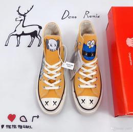 Опт 2019 Новый Стиль Чакс High All Stars X Kaws Желтый Вулканизированный Холст Повседневная Обувь Высочайшее Качество Мужчины Женщины Модельер Кроссовки Size35-44