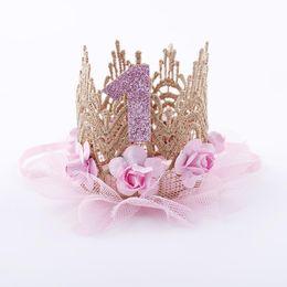 $enCountryForm.capitalKeyWord Australia - Princess Newborn Infant Baby Girls Birthday Tiaras Flower Lace Headband Cute Girls Birthday Gifts