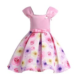 Discount cotton party dresses for toddlers - Summer Toddler Flower Girl Dresses Kids Wedding Rose Floral Infant Party Dresses For Girls Princess Dress Children Cloth