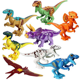 plastic building bricks figures 2019 - Educational Jurassic Dinosaur Legoingly Building Block Toy Figure Indoraptor Velociraptor Triceratop T-Rex World Dino Br