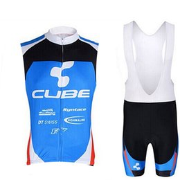 Cube bike CyCling jerseys online shopping - 2019 CUBE cycling Sleeveless jersey bib shorts set New road Bicycle maillot breathable quick dry bike clothing Outdoor Sports suit