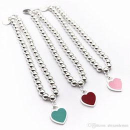 Hot Pink Chain Australia - 2019 Hot sale S925 Sterling Silver beads chain bracelet with enamel grenn and pink heart for women and mother's day gift jewelry