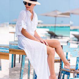 Beach Blouses Women 2019 Tunic White Blouse Plus Size Long Solid Bohemian  Blouse Elegant Women Summer Beach Lucid Bikini a622687ccc32
