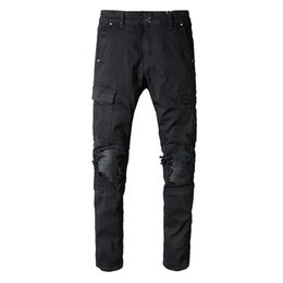 $enCountryForm.capitalKeyWord UK - 2019 New Men's Distressed Ripped Cargo Pants Holes Patches Washed Black Skinny Jeans Slim Trousers