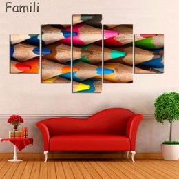 $enCountryForm.capitalKeyWord NZ - 5Pcs set Colourful feathers color pen fresh look modern flower painting wall art decorative image painting on canvas prints