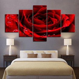 $enCountryForm.capitalKeyWord Australia - 5 Piece Large Framed Beautiful Red Rose Flower Wall Art Pictures for Bed Room Wall Decor Posters and Prints Canvas Painting