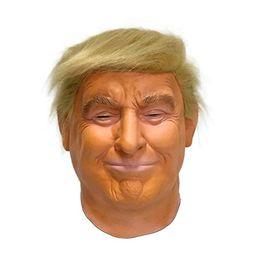 Full latex costumes online shopping - Donald Trump Latex Mask Billionaire American US President Politician halloween Fancy party full head mask costume Dress