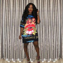 $enCountryForm.capitalKeyWord Australia - Colorful Lip Night Club Dress Women Loose Digital Printed Dresses Letter Printed Causal Cool Dress