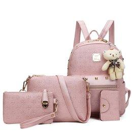 $enCountryForm.capitalKeyWord Australia - Women Bags Composite Bag Leather Backpack Women Cute Bear 4 Sets Rivets Handags And Purse School BackpacFor Teenage Girls