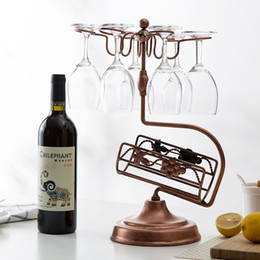 rack for glasses NZ - Metal Wine Rack,Wine Glass Holder,Countertop Free-stand 1 Bottle Wine Storage Holder with 6 Glass Rack,Ideal Christmas Gift for Wine Lover