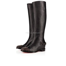 women red leather over knee boots NZ - 2019 Women Long Boots Low Heels Red Bottom Over-Knee Boot Egoutina Boots Grained skin Black Genuine Leather With Rivets Shoes