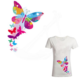 Hot Transfers For T Shirts Australia - Hot Colorful butterfly Patch for clothing 27*18.5cm iron on patches Diy T-shirt Dresses thermal transfer sticker