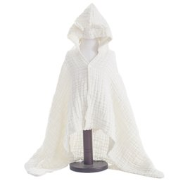 terry cotton NZ - Kids Bathrobes Cloak Children Boys Girls 6 Layers Muslin cotton Bath Robes Towel Hooded Terry Beach Wrap Towel Pajamas Gown