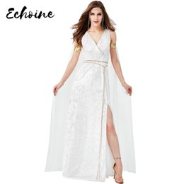 goddess dresses white Australia - Echoine Women Sexy V Neck Sleeveless White High Split Long Maxi Dress Ancient Egyptian Queen Cleopatra Greek Goddess Costume