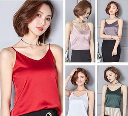 women sexy silk blouses Australia - Top Quality Imitated Silk Camisole Women V-Neck Backless Club Tank Top Summer Casual Plain Tees Blouses Sexy Beach Sun Tops JCG1203