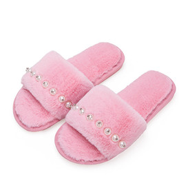 000ee673a07 Warm Winter Home Slippers Women Pearl Slides Indoor House Bedroom Fur  Slippers Ladies Casual Plush Shoes Woman Flip Flops