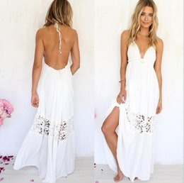 casual white cotton maxi dresses Australia - White Panelled Dresses Females Casual Clothes Womens Lace Halter Backless Dress Summer Designer Deep V Neck Hollow Out