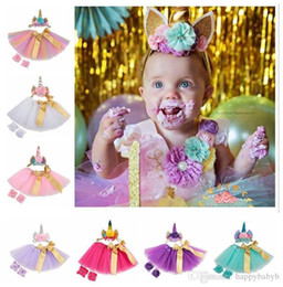 Wholesale Unicorn baby TUTU Dress Suit 3pcst Infant Girls Outfits unicornio floral Cintas para la cabeza + Tutu Faldas + Zapatos de flores para la ropa del recién nacido