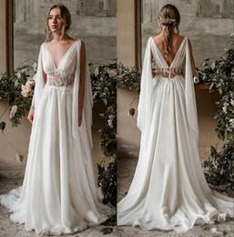 $enCountryForm.capitalKeyWord NZ - Sexy Sheer Neck Deep V Neck A Line Long Wedding Dresses Chiffon Boho Lace Applique Summer Cheap Wedding Bridal Gowns robe de mariage