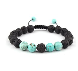 Wholesale 8mm Beaded Lava Rock Diffusion Bracelet Ladies Men s Braided Rope Natural Bracelet Birthday Valentine s Day Gift