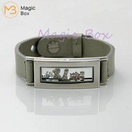 Floated glass online shopping - Black Leather Bracelet Men glass Bracelet floating charm medallion locket stainless steel Fashion ableLong Charm Bracelet Strap