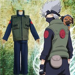 Wholesale naruto hatake cosplay resale online - Anime cosplay Naruto Hatake Kakashi Costume Vest Sweatshirt Pants Halloween Adult cotton Costume and Cosplay Wig Accessories