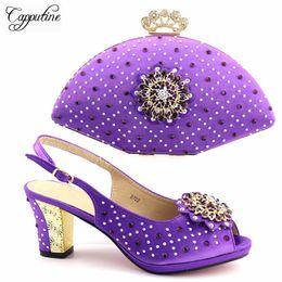 $enCountryForm.capitalKeyWord Australia - Designer New European Style Rhinestone Shoes And Evening Bag Set Fashion Woman Purple High Heel Shoes And Bag Set For Wedding Tx-722