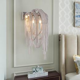 $enCountryForm.capitalKeyWord Australia - Nordic Post-modern Fringed Aluminum Chain Led Wall Light Living Room Restaurant Aisle Club Lights Bedroom Bedside Wall Lamp