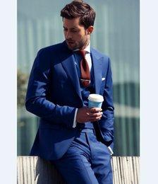 Images Fashionable Suits Australia - Fashionable One Button Groomsmen Peak Lapel Groom Tuxedos Men Suits Wedding Prom Dinner Best Man Blazer(Jacket+Pants+Tie+Vest) 518