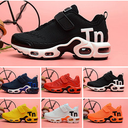 Athletic kid shoes online shopping - 2019 designer toddler kids Mercurial TN Breathable tn Plus Rainbow Mesh Running Sneakers tns children pour enfants Athletic sport trainers