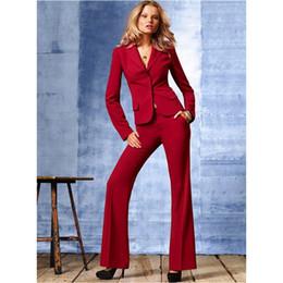 $enCountryForm.capitalKeyWord NZ - High Quality slim Suit Custom made Red Office Ladies Work Wear Women Pant Suits Formal Female Pants Two Pieces Women Pant SuitsJacket+Pants