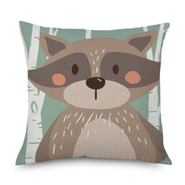 wholesale fox cushion covers UK - Forest Fox Bear Rabbit Racoon Silver Birch Cushion Covers Avocado Cat Linen Pillow case 45X45cm Bedroom Sofa Decoration