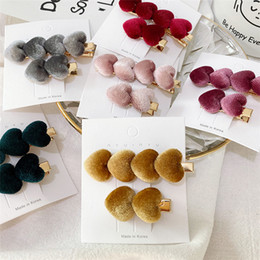 flower hair clip vintage Australia - 6 color Girls Vintage Velvet Heart Shape hair pins hair clips Barrettes Hairgrips Headwear hair Styling Tools accessories Wholesale EJJ127