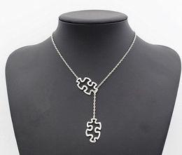 $enCountryForm.capitalKeyWord Australia - Fashion Tibetan Silver Autism Jewelry Awareness Jigsaw Double Puzzle Piece Pendant Adjustable Necklace Gift