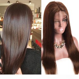 dark brown lace closure color Canada - #4 Brown Color 4x4 Straight Lace Closure Brazilian Human Hair Wig 130 % 150 % density 8inch To 26inch