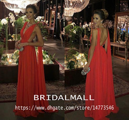 Light purpLe chiffon online shopping - Red Pleats Chiffon African Evening Dresses With Ribbons Elegant V Neck Formal Celebrity Party Gowns Sexy Backless Long Prom Bridesmaid Dress