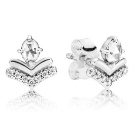 Wish Earrings Australia - Authentic 925 Sterling Silver Earring Classic Wish Stud Earrings With Crystal For Women Wedding Gift Fine Europe Jewelry